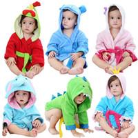 roupões de banho crianças animais venda por atacado-Crianças dos desenhos animados animais com capuz roupão de banho Robes de bebê dinossauro Elefante frango cão modelagem Camisola Crianças toalha de banho em casa roupas AAA977