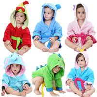 Wholesale cartoon baths resale online - Kids cartoon animal Hooded bathrobe Baby Robes dinosaur Elephant chicken dog modeling Nightgown Children bath towel home clothing AAA977
