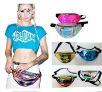 sugeçirmez serseri çanta toptan satış-Kadın Hologram Lazer Bel Çantası Moda Su Geçirmez Saydam Parlak Neon Fanny Paketi Fermuar Bum Çanta Seyahat Plaj Çanta Crossbody Omuz Çantası