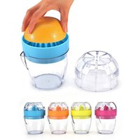 Wholesale mini hand juicer - 4 Colors Mini Manual Squeezer Citrus Hand Juicer Cup Orange Plastic Squeezer Lemon Press Juice Fruit Vegetable Tools AAA209
