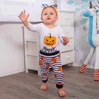 weißer bodysuit halloween großhandel-Happy Halloween Pumpinks Baby Kind Outfits Body Weiß Langarm + gestreiften Hose 2pcs / set Herbst 0-24 Monate Großhandel