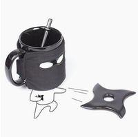 Wholesale Coffee Cupping Spoon - British Thumbs Up Mug Creative Ninja Mug With Coasters A Stirring Spoon Coffee Cup Removable Cup Birthday Gift CCA8824 48pcs