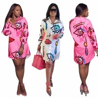 Wholesale ladies long robes - Perspective Design Ladies Sexy Dress Long Sleeve Print Summer Dress Casual Shirt Dress Robe Femme