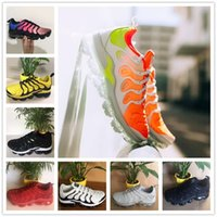 Wholesale floral button up - 2018 NEW Vapormax TN Plus White Silver Black Sports Shoes For Air Tn Running Male Pack Triple Mens Cheap Basket Requin Casual Chaussures
