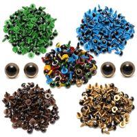 diy dolması yapılmış hayvanlar toptan satış-JIMITU 80 Adet / 40 Pair 10mm Renk-Mix Plastik Ayıcık Dolması Oyuncak için Emniyet Gözler Oyuncak Yapış Hayvan Kukla Bebek Zanaat DIY Aksesuarları