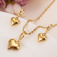Wholesale solid brass necklace for sale - Group buy 24 k Yellow Solid Gold Filled Lovely heart Pendant Necklaces earrings Women girls party jewelry sets gifts diy charms