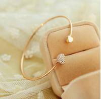 Wholesale love bow bracelet for sale - Luxury jewelry women bracelet Crystal Double Heart Bow Bilezik Cuff Opening Bracelet with diamond gold rose bracelet designer jewelry gift