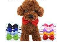 köpekler yuvarlanır toptan satış-Toptan Pet headdress Köpek Bow kravat Aksesuarları Ucuz Pet Kedi Köpek Kravat Yaka Köpek Giyim Pet bakım Malzemeleri Mix Renk