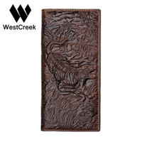 Wholesale Unique Tiger - Vintage Unique Design Tiger Pattern Genuine Leather Men's Wallets High Quality Real Leather Man Purse by GMW011