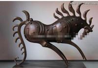 ingrosso arte astratta porcellana-China Furniture Decoration Bronze Copper Abstract Lucky Run Horse God Art Statue