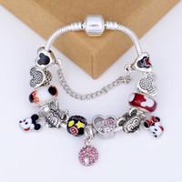 заземляющий браслет оптовых-Мода бутик стеклянные бусины мультфильм кулон браслет для дамы / дети Pandora стиль DIY браслет ювелирных изделий