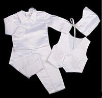 свадебный костюм мальчиков 2t оптовых-Формальные baby boy одежда набор свадебный костюм крещение набор для 0-2T Baby body костюмы носить жилет + рубашка + брюки шляпа галстук-бабочку