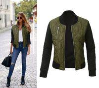 moda kadınlar kışlık montlar toptan satış-Kadınlar Temel Coats sonbahar ve kış Bombacı Ceket Rahat Fermuar Ince Kadın katı renk moda ordu yeşil fermuar ceket