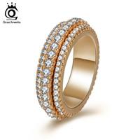 halka mücevherleri toptan satış-Kadınlar Için ORSA JEWELS Yüzükler Düğün Band Yuvarlak Şekil Gül Altın Renk Parlak Kübik Zirkon Moda Parti Kadın Takı OMR11