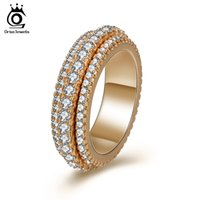 ORSA JEWELS Rings For Women Wedding Band Round Shape Rose Gold Color Shiny Cubic Zircon Fashion Party Female Jewelry OMR11