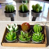 conjunto de mini-mesa venda por atacado-Velas decorativas de mesa de casamento Mini Cactus Candle Table Tea Light Início jardim de simulação de Natal planta Candle Holders 6PCS / Set WX9-719
