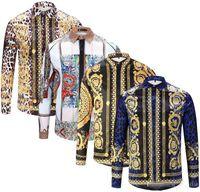 Wholesale silver gold dog collar online - New brand design clothing men s Galaxy gold dragon print long sleeved d shirt Harajuku Medusa gold chain dog rose print shirt fashion ret