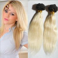sarışın saç telleri toptan satış-Ucuz Manikür hizalanmış saç demetleri Ombre # 1B / 613 Koyu Kökleri Sarışın Brezilyalı Remy Bakire Insan Saç Uzantıları