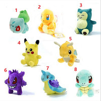 Wholesale Pokemon Christmas Plush - Poke Plush dolls toys EMS 12-17cm 8 style children Pikachu gengar Lapras Charmander Bulbasaur Jeni turtle Plush dolls OTH753