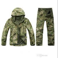 chaqueta de caparazón blando al por mayor-Venta al por mayor-TAD Stalker piel de tiburón camuflaje cazando chaquetas de pesca impermeable SoftShell conjunto chaqueta exterior deporte ejército ropa S6