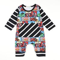 Wholesale Clothes Characters Baby - Baby Jumpsuits Super Hero Cartoon Printed Striped Long & Short Sleeve Baby Boys Girls Clothing Cotton Blending 0-18M