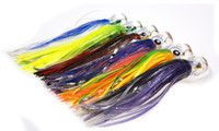 Wholesale soft head sea lure resale online - 6pcs inch g Big Sea Game Trolling Fishing Lure double Octopus Skirt Tuna Lure Rigging Marlin Lure With Acrylic head
