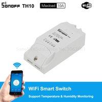 модуль датчика влажности оптовых-Оригинальный Sonoff TH10 10A Wifi Smart Switch Модуль Беспроводной Выключатель Alexa Поддержка Датчик Температуры Влажность Монитор Датчик для Умного Дома 50