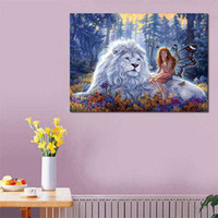 Wholesale kids canvas art animals - 5D DIY Full Drill Lion Diamond Painting Embroidery Animal Cross Stitch Kit Home Decor Wall Art Craft For Kids Ladies