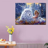 Wholesale animal craft kits - 5D DIY Full Drill Lion Diamond Painting Embroidery Animal Cross Stitch Kit Home Decor Wall Art Craft For Kids Ladies