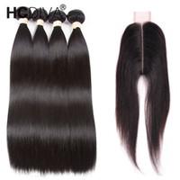 бразильские человеческие волосы оптовых-Бразильские прямые девственные с закрытием 6x2 необработанные прямые бразильские волосы 4 пучка с закрытием Бразильское плетение человеческих волос HCDIVA