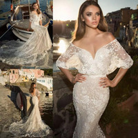 Wholesale 3d sexy shirts online – design 2019 Beach Mermaid Wedding Dresses Sexy Deep V Neck Half Sleeves Appliqued Lace Court Train Sheer Wedding Dress Bridal Gowns