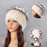 колпачки для цветов оптовых-Winter Fur Hat for Women Real  Hats with Silver  Fur Flower Knitted Beanies Caps New High-end Women Cap