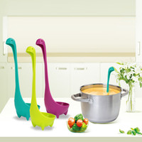 Wholesale Large Spoons - New Creative Plastic Soup Cute Cartoon Spoon Nessie Ladle Large Soup Spoon Long Handle Scoop Kitchen Utensils Cooking Tools