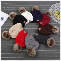 Wholesale Kids Fedora Hats Wholesale - 9 Colors CC Trendy Hats Kids Knitted Fur Poms Beanie Winter Label Fedora Cable Slouchy Skull Caps Fashion Leisure Beanies CCA8523 60pcs