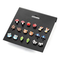 Wholesale Imitation Fruit - Fashion Korean version of the new women's earrings 9 pairs of fruit cute animals earrings set explosion