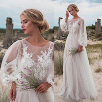 Wholesale long embellished dress lace sleeves for sale - Group buy Fabulous Tulle Jewel Neckline Natural Waistline A line Wedding Dress With Beaded Lace Appliques embellished beaded lace Bridal Dresses