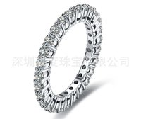 Wholesale white gold wedding rings for her for sale - Group buy Full eternity Ring Brilliant Synthetic Diamonds Ring for Her Wedding band Real Sterling Silver Ring White Gold Color S923