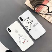 caja del teléfono del gato de goma al por mayor-Cubierta clara de la caja del teléfono del gato del dedo medio de goma suave de la historieta TPU para el iPhone 6 6s más 7 8 más para el iphone X casos