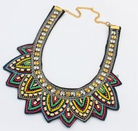 Wholesale asian tibetan necklace for sale - Group buy Statement Necklace Nepal Tibetan Resin Bead Bohemian Necklaces Pendants Vintage Handmade Braided Bead Bib Collar Necklace