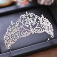 Wholesale wedding hair royal crown for sale - Silver Rhinestone Wedding Crowns Princess Queen Wedding Tiaras Royal Bridal Crowns Wedding Headband Bridal Hair Accessories Quinceanera Prom