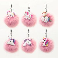 Wholesale Purse Charms Keychain - Fluffy Unicorn Keychain Emoji Pompom Key Ring Cell Phone Charms Handbag Purse Pendant Fur Ball Key Chain CCA9576 100pcs