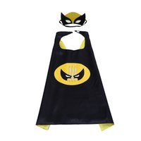 Wholesale hot movies online - hot Double side L70 cm kids Superhero Capes and masks Spiderman Flash Supergirl Batgirl Robin for kids capes with mask