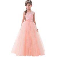 robes de gaze de dentelle sans manches rose achat en gros de-Robes de fille de fleur pour le mariage Blush Pink Princesse Tutu paillettes dentelle appliquée David jupe princesse fleur noeud noeud Petite jupe robe de gaze