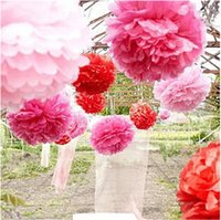 Wholesale paper hanging balls for sale - Paper Flower Ball Wedding Decor Flowers inch DIY Pom Wedding Flowers Ball home decoration Festive Party Supplies