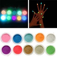 Wholesale glowing powder nails for sale - Acrylic Nail Art Fluorescent Luminescent Glitter Tip Powder Sand Glow In Dark D Salon Nails DIY Design Decoration
