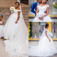 Wholesale girls bodice - Plus Size 2018 African Black Girls Lace Wedding Dresses Off Shoulder Lace Applique Court Train Wedding Dresses Bridal Gowns Wedding Gowns