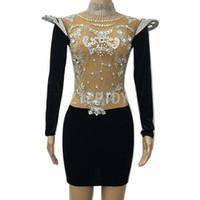 Wholesale outfits nightclub dress for sale - Glisten Silver Rhinestones Slim Dress Sexy Big Stones Stretch Outfit Female Singer Ds Show Women S Birthday Nightclub Stage Wear