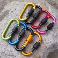Wholesale carabiner travel lock - With Lock Carabiner Aluminum Alloy D Type Hanging Nut Buckle Clip High Strength Anti Wear Backpack Keyring Top Quality 1 7dt B