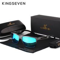óculos retangulares venda por atacado-Kingseven homens polarizados óculos de sol de alumínio e magnésio óculos de sol óculos de condução retângulo máscaras para homens oculos masculino masculino