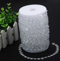 Wholesale wedding tree centerpiece crystal - 99 Feet 30Meters Clear Garland Diamond Strand Hanging Crystal Acrylic Bead Curtain Chains Party Tree Wedding Centerpiece Decor